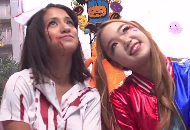 ハロウィンの渋谷で騒ぐコスプレ娘二人を軟派!MM号で乱交パーティー