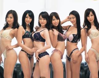 <レズバトル>ランジェリーモデル6人が一斉に戦うレズ乱交!