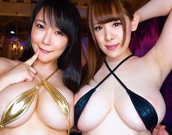 <痴女>超乳デカ尻の美女2人が勃起チンポを主観画面で責め立てる