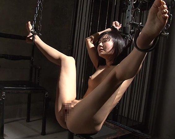 大股開いた状態で拘束された美女が男にアナルを犯されさらに鉄棒を挿入され調教される