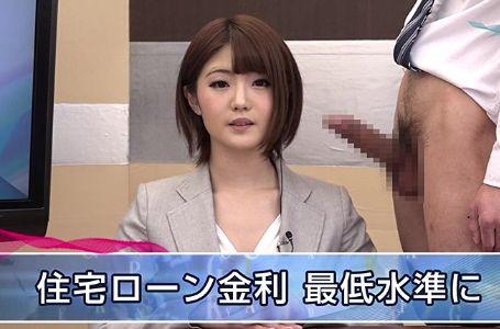 放送中の女子アナがボロンしたチンポを凝視して手コキしたり犯されたりする