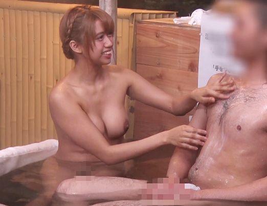 温泉街で軟派した友人関係の学生男女に混浴風呂に入浴してもらいsexしちゃうかモニタリング