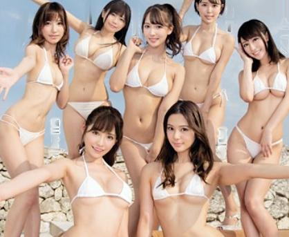 S級セクシーアイドル達が横一列で並ぶ勃起チンポを感謝込めてフェラチオしまくる!