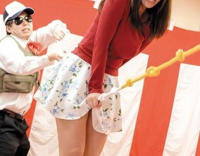 イボが股間を刺激するぅ!素人お姉さんが平均台ゲームで股間の快楽に耐え切れず落下して罰ゲームでチンポ挿入される