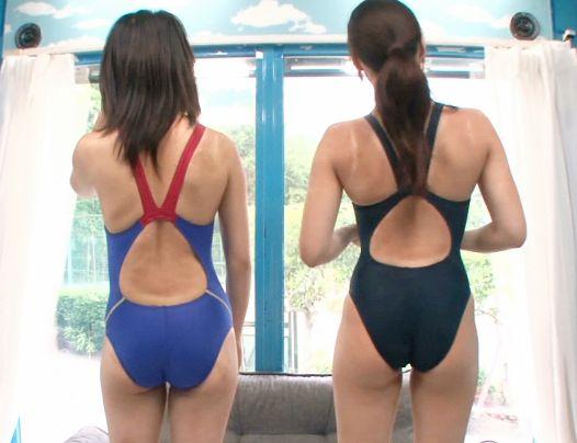水泳部の部活女子の褐色日焼けの競泳水着スタがエロすぎwwスポーツで鍛えたの性欲が凄まじく男二人に責められて目を潤ませ悶絶