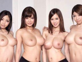 巨乳揃いのエッチなお姉さん達がマッサージして4人でチンポ掴んて主観手コキをする